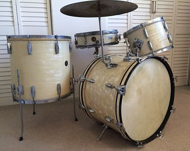Gretsch 4 pc drum set 1940s 50s white marine pearl for 18 inch floor tom for sale
