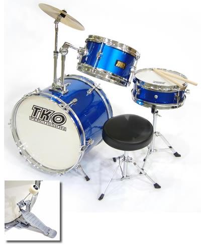 tko 3 piece kids drums junior children 39 s kids starter drum set blue vintage drum center. Black Bedroom Furniture Sets. Home Design Ideas