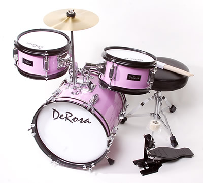 DeRosa Bridgecraft 3 Piece Kids Drums Junior Childrens Drum Set For 5 Yrs Old Pink