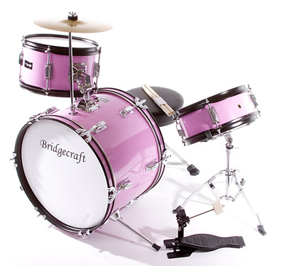 DeRosa By Bridgecraft 3 Piece Kids Drums Junior Childrens Small Drum Set For 8 Yrs Pink