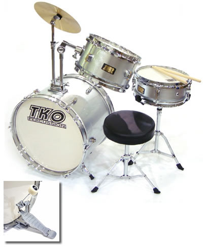 tko 3 piece kids drums junior children 39 s kids starter drum set silver vintage drum center. Black Bedroom Furniture Sets. Home Design Ideas