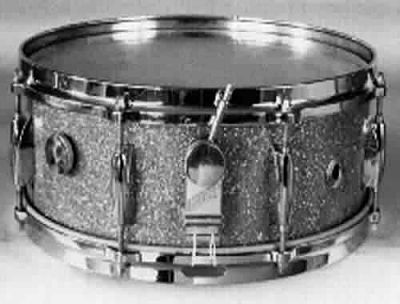 "GRETSCH:  grw001s  5½x14, 60's, ""Name Band"" model, champagne sparkle, 8 lugs, ""Microsensitive"" strainer, die cast rims."