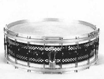 DUPLEX: dum000s 4x15½, circa '20, black lacquered perforated metal shell, cast aluminum rims, 16 lugs.