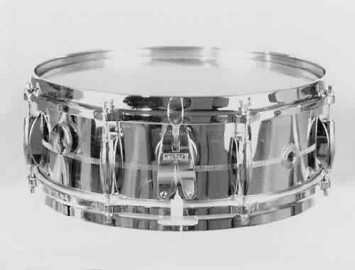 "GRETSCH: grb000s 5½x14, 70's, brass shell, 8 lugs, die cast rims, ""Lightning"" strainer."