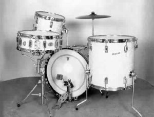 """ROGERS:  row004K  4 pc., 60's, """"Holiday"""", white marine pearl, 14x20 bass, 8x12 & 16x16 toms, 5x14 matching """"Dyna-Sonic"""" snare."""