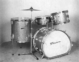 "TRIXON:  trw000K  4 pc., '67, ""Speedfire"" yellow sparkle, 28"" egg-shaped bass, 9x13 & 16x16 toms, 51Ú2x14 matching snare drum."