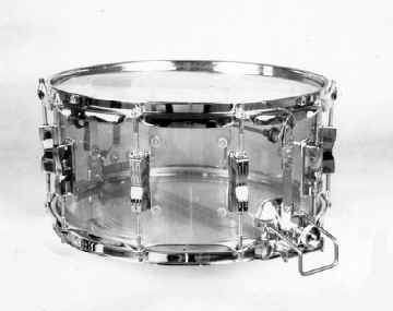 "LUDWIG:  luv002s  6½x14, 70's-80's,  ""Vistalite"", Supersensitive model, blue acrylic shell, 10 lugs."