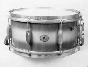 """SLINGERLAND:  slr009s  6½x14, 30's-40's, """"Radio King"""" model, blue & grey duco finish, 8 lugs, 1 ply maple shell, brass rims (logo-engraved top)."""