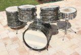 Vintage Ludwig Black Oyster Pearl Drum Set - circa 1966