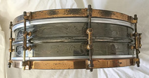 vintage Ludwig Black Beauty snare drum scroll engraved 1920s